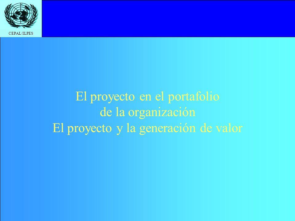 CEPAL/ILPES El proyecto en el portafolio de la organización El proyecto y la generación de valor