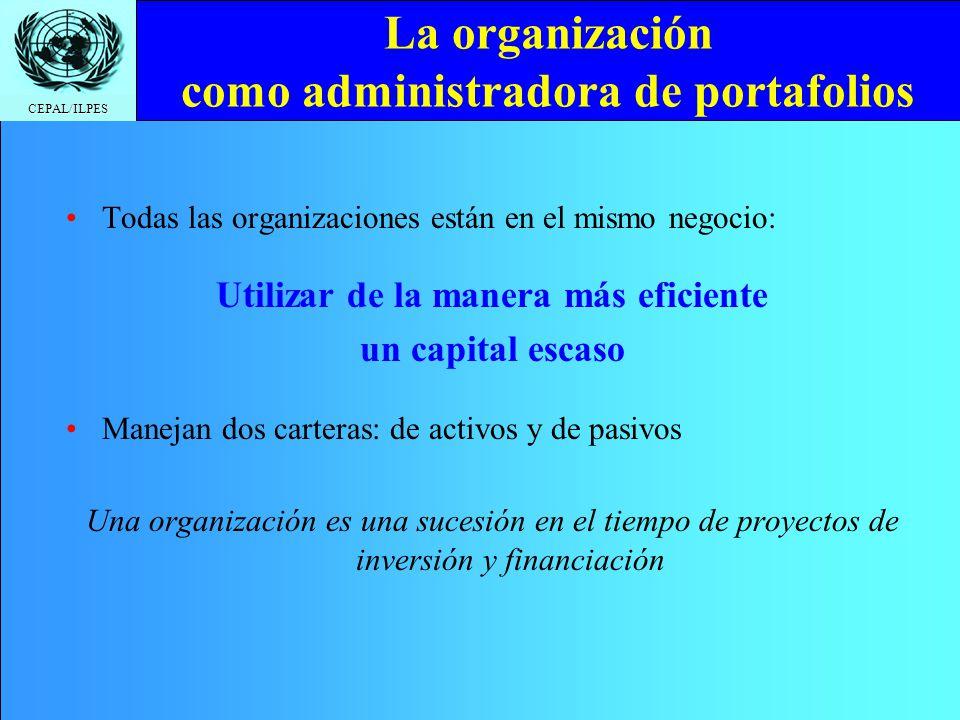 CEPAL/ILPES La organización como administradora de portafolios Todas las organizaciones están en el mismo negocio: Utilizar de la manera más eficiente