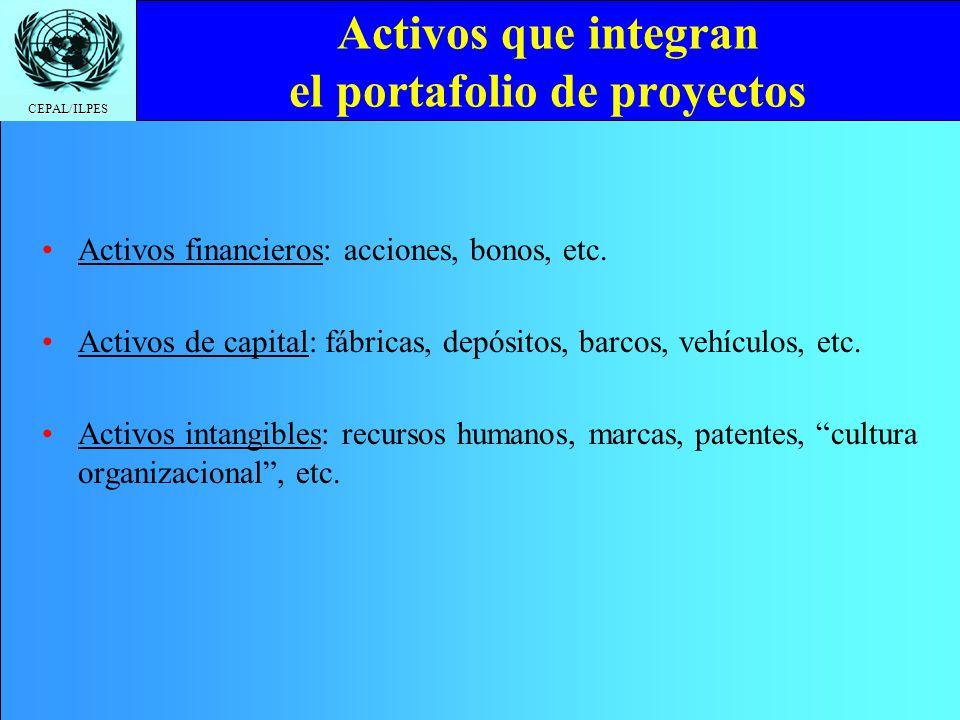 CEPAL/ILPES Activos que integran el portafolio de proyectos Activos financieros: acciones, bonos, etc. Activos de capital: fábricas, depósitos, barcos