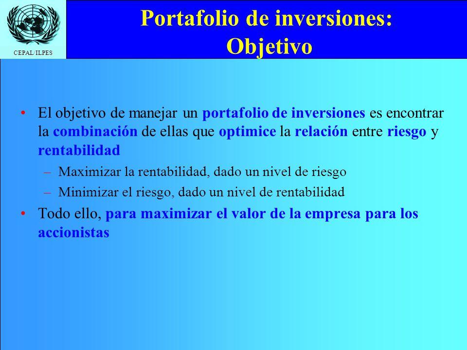 CEPAL/ILPES Portafolio de inversiones: Objetivo El objetivo de manejar un portafolio de inversiones es encontrar la combinación de ellas que optimice