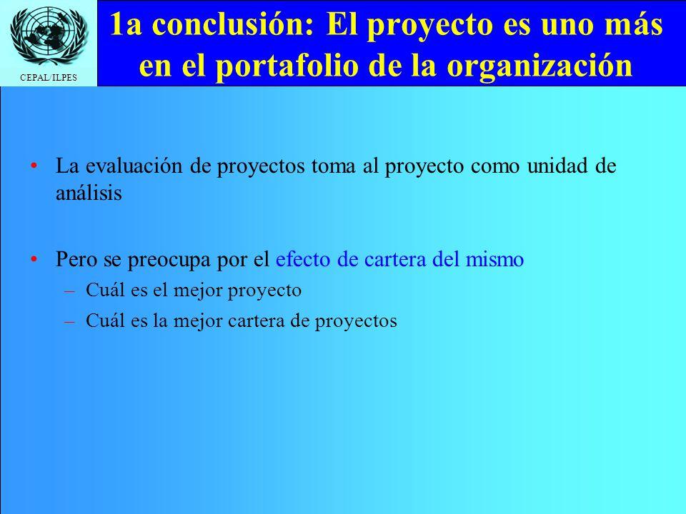 CEPAL/ILPES 1a conclusión: El proyecto es uno más en el portafolio de la organización La evaluación de proyectos toma al proyecto como unidad de análi