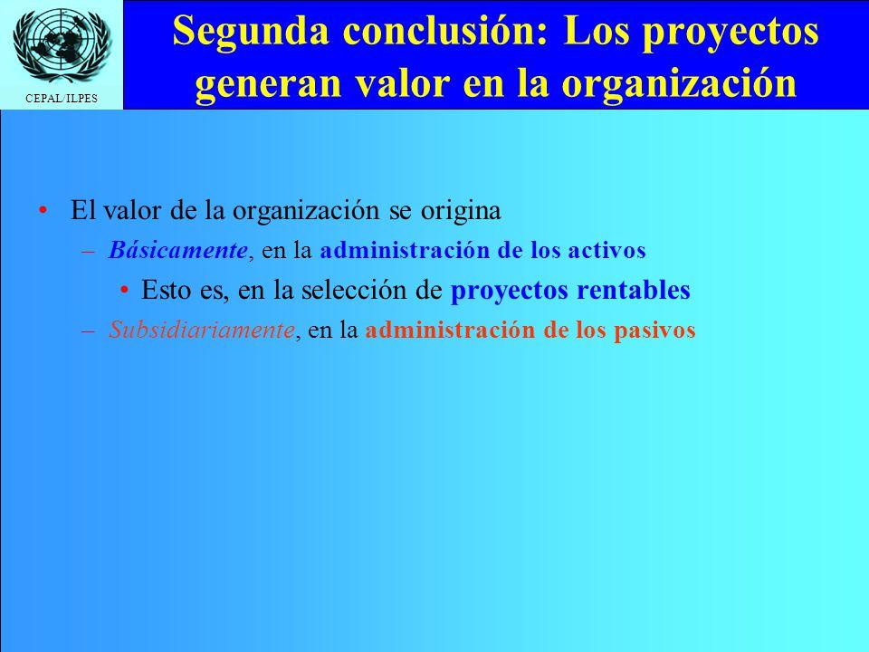 CEPAL/ILPES Segunda conclusión: Los proyectos generan valor en la organización El valor de la organización se origina –Básicamente, en la administraci