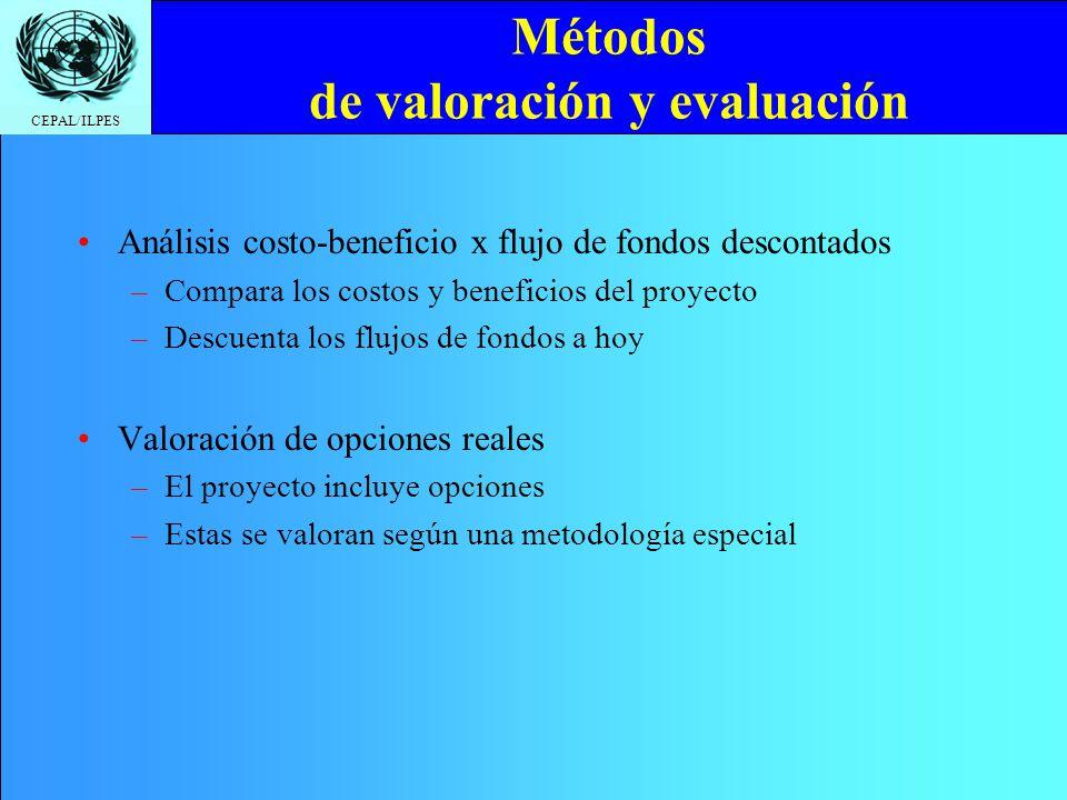 CEPAL/ILPES Métodos de valoración y evaluación Análisis costo-beneficio x flujo de fondos descontados –Compara los costos y beneficios del proyecto –D