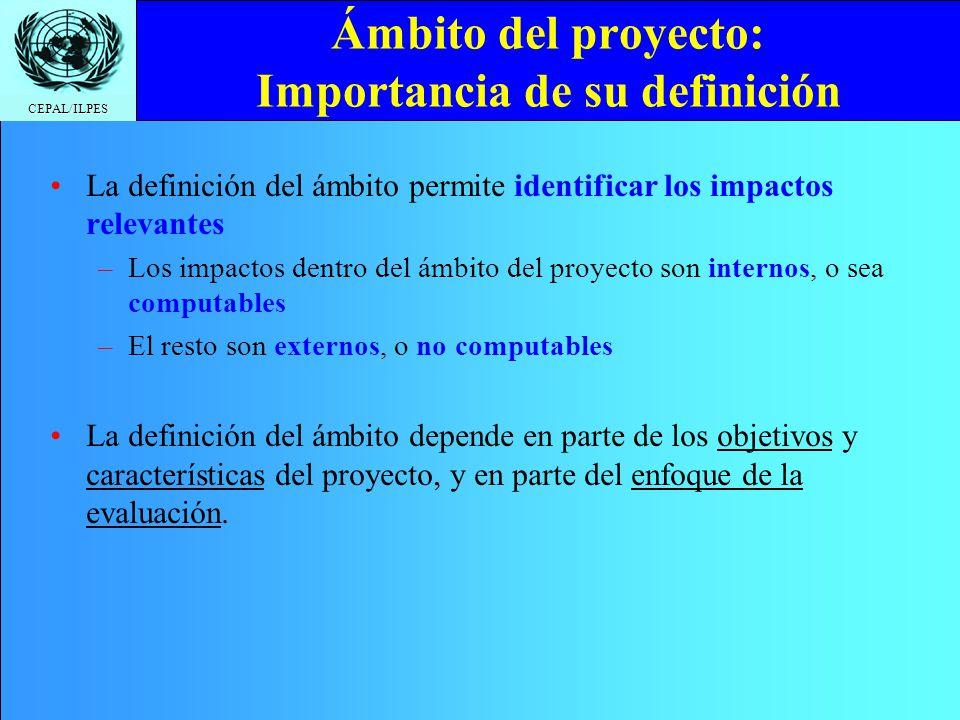 CEPAL/ILPES Ámbito del proyecto: Importancia de su definición La definición del ámbito permite identificar los impactos relevantes –Los impactos dentr