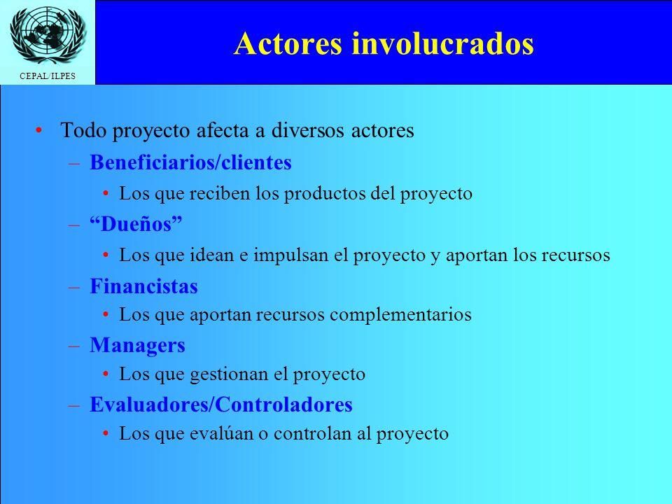 CEPAL/ILPES Todo proyecto afecta a diversos actores –Beneficiarios/clientes Los que reciben los productos del proyecto –Dueños Los que idean e impulsa