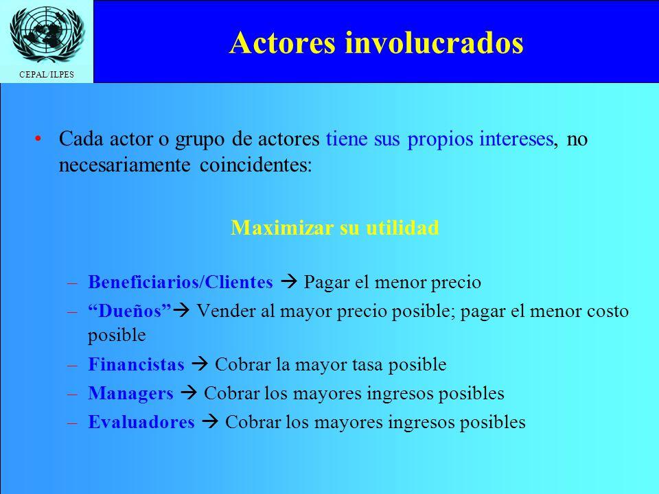 CEPAL/ILPES Actores involucrados Cada actor o grupo de actores tiene sus propios intereses, no necesariamente coincidentes: Maximizar su utilidad –Ben