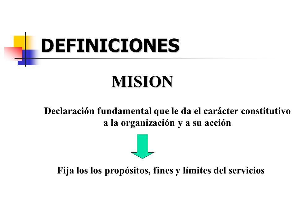 DEFINICIONES MISION Declaración fundamental que le da el carácter constitutivo a la organización y a su acción Fija los los propósitos, fines y límite