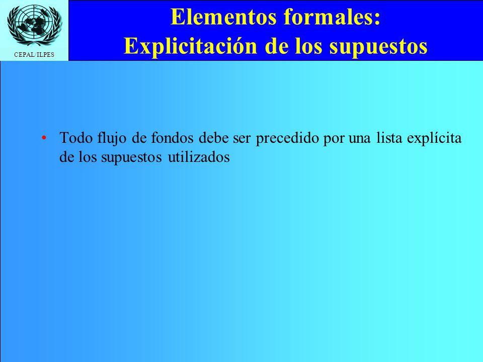 CEPAL/ILPES Elementos formales: Explicitación de los supuestos Todo flujo de fondos debe ser precedido por una lista explícita de los supuestos utiliz