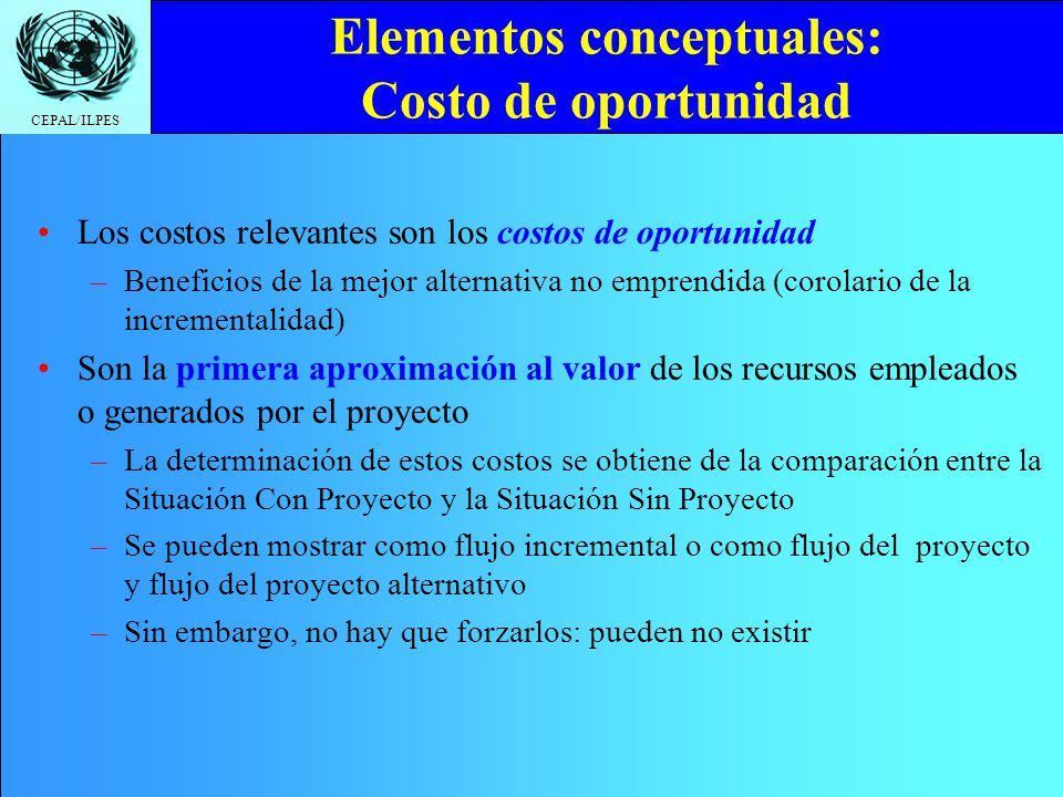 CEPAL/ILPES Elementos conceptuales: Costo de oportunidad Los costos relevantes son los costos de oportunidad –Beneficios de la mejor alternativa no em
