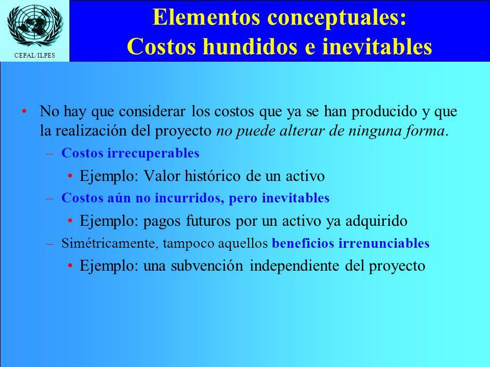 CEPAL/ILPES Elementos conceptuales: Costos hundidos e inevitables No hay que considerar los costos que ya se han producido y que la realización del pr