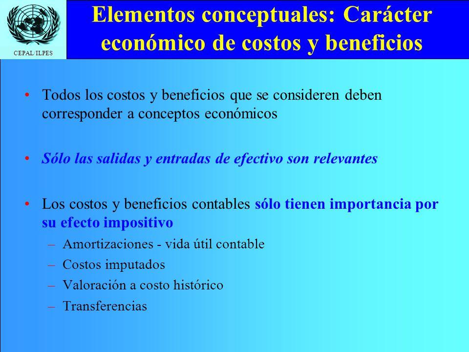 CEPAL/ILPES Elementos conceptuales: Carácter económico de costos y beneficios Todos los costos y beneficios que se consideren deben corresponder a con