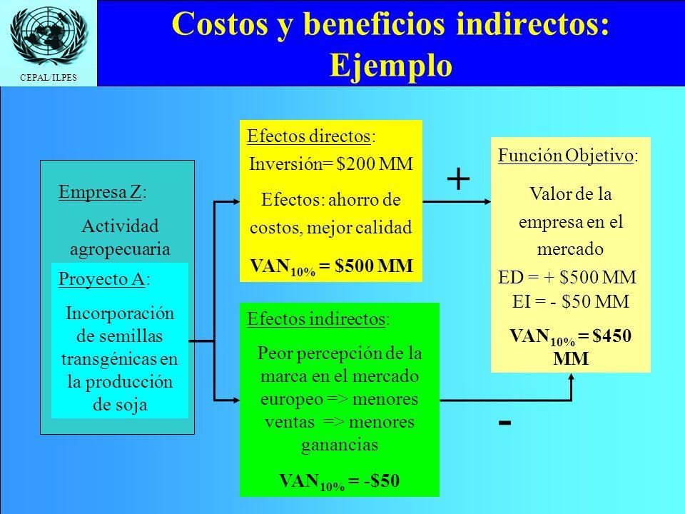 CEPAL/ILPES Efectos directos: Inversión= $200 MM Efectos: ahorro de costos, mejor calidad VAN 10% = $500 MM Costos y beneficios indirectos: Ejemplo Pr