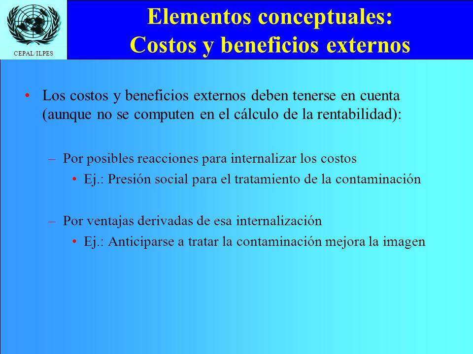 CEPAL/ILPES Elementos conceptuales: Costos y beneficios externos Los costos y beneficios externos deben tenerse en cuenta (aunque no se computen en el