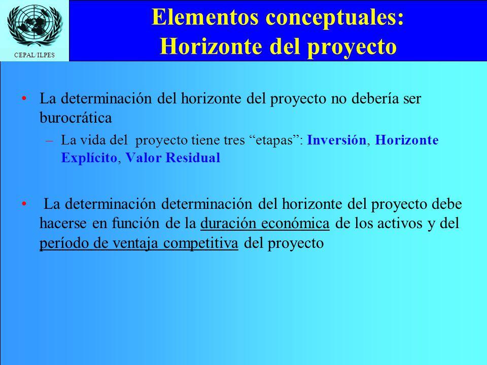 CEPAL/ILPES Elementos conceptuales: Horizonte del proyecto La determinación del horizonte del proyecto no debería ser burocrática –La vida del proyect