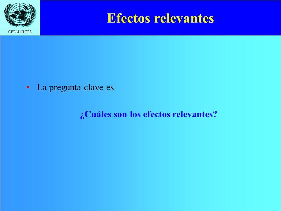 CEPAL/ILPES Efectos relevantes La pregunta clave es ¿Cuáles son los efectos relevantes?