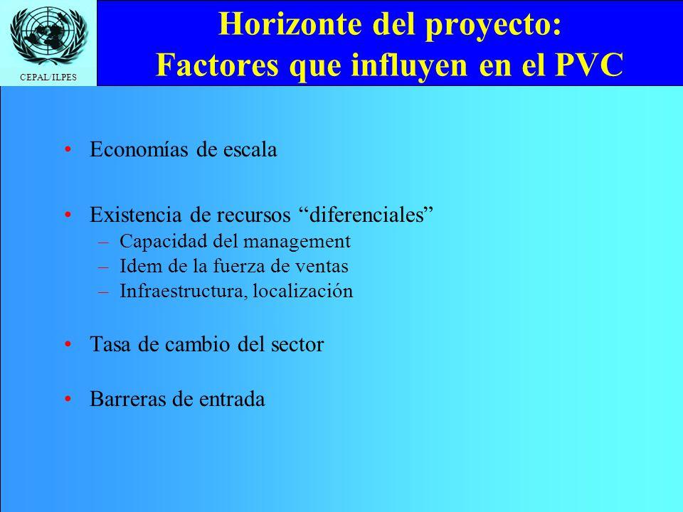 CEPAL/ILPES Horizonte del proyecto: Factores que influyen en el PVC Economías de escala Existencia de recursos diferenciales –Capacidad del management