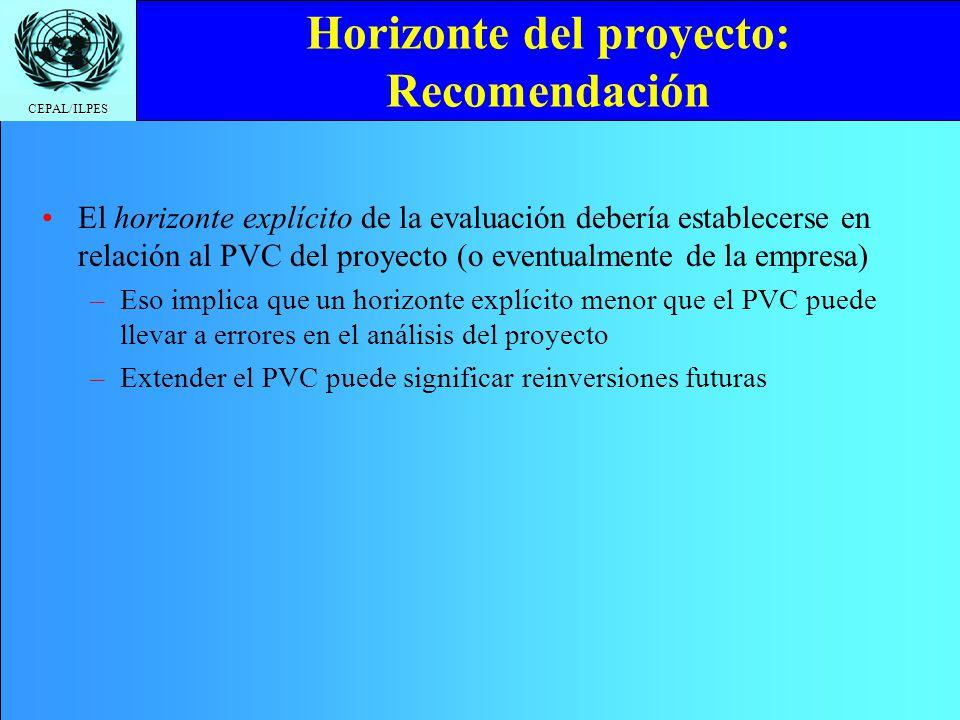 CEPAL/ILPES Horizonte del proyecto: Recomendación El horizonte explícito de la evaluación debería establecerse en relación al PVC del proyecto (o even