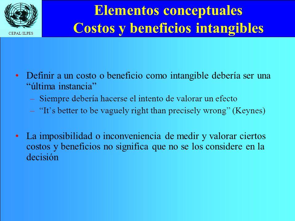 CEPAL/ILPES Elementos conceptuales Costos y beneficios intangibles Definir a un costo o beneficio como intangible debería ser una última instancia –Si