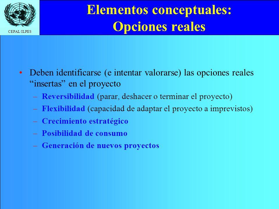CEPAL/ILPES Elementos conceptuales: Opciones reales Deben identificarse (e intentar valorarse) las opciones reales insertas en el proyecto –Reversibil