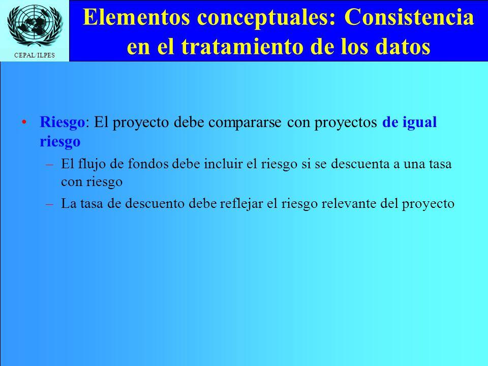 CEPAL/ILPES Elementos conceptuales: Consistencia en el tratamiento de los datos Riesgo: El proyecto debe compararse con proyectos de igual riesgo –El