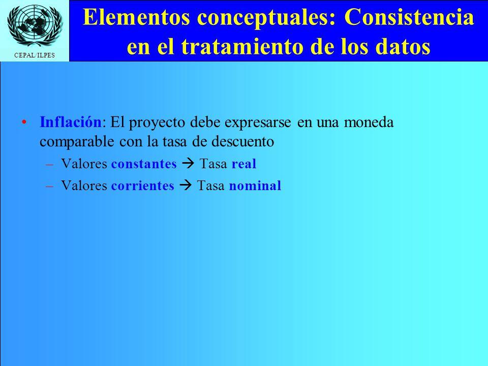 CEPAL/ILPES Elementos conceptuales: Consistencia en el tratamiento de los datos Inflación: El proyecto debe expresarse en una moneda comparable con la