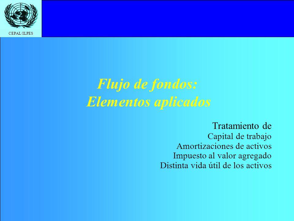 CEPAL/ILPES Flujo de fondos: Elementos aplicados Tratamiento de Capital de trabajo Amortizaciones de activos Impuesto al valor agregado Distinta vida