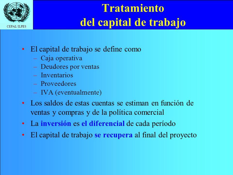 CEPAL/ILPES Tratamiento del capital de trabajo El capital de trabajo se define como –Caja operativa –Deudores por ventas –Inventarios –Proveedores –IV