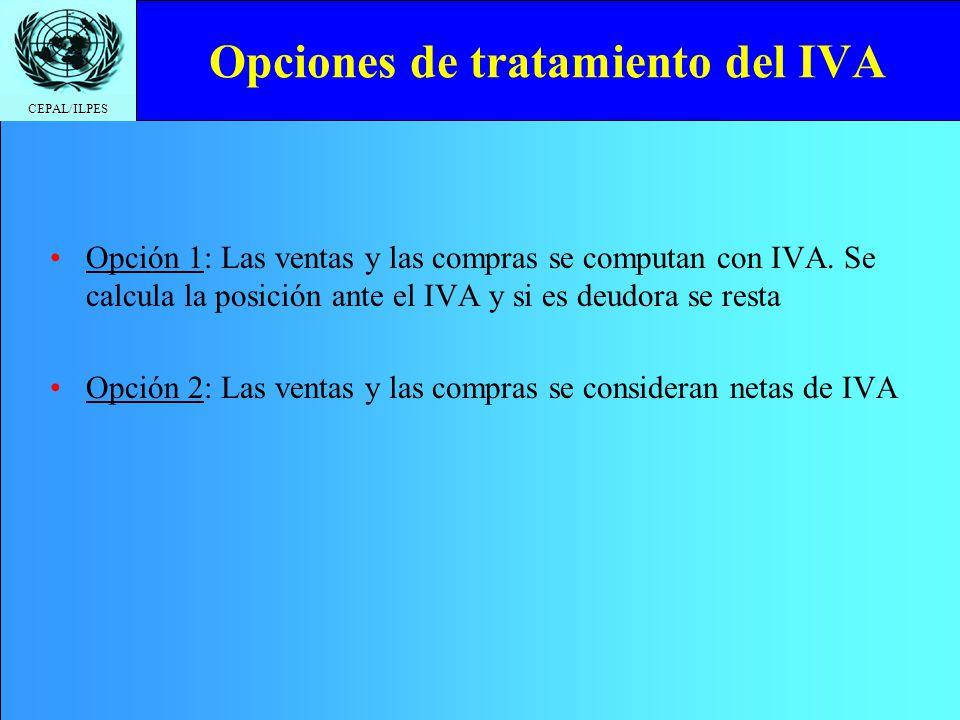 CEPAL/ILPES Opciones de tratamiento del IVA Opción 1: Las ventas y las compras se computan con IVA. Se calcula la posición ante el IVA y si es deudora