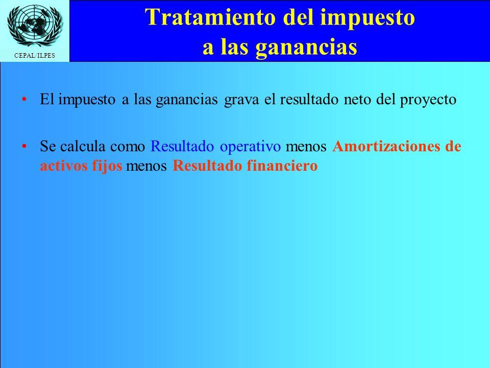 CEPAL/ILPES Tratamiento del impuesto a las ganancias El impuesto a las ganancias grava el resultado neto del proyecto Se calcula como Resultado operat
