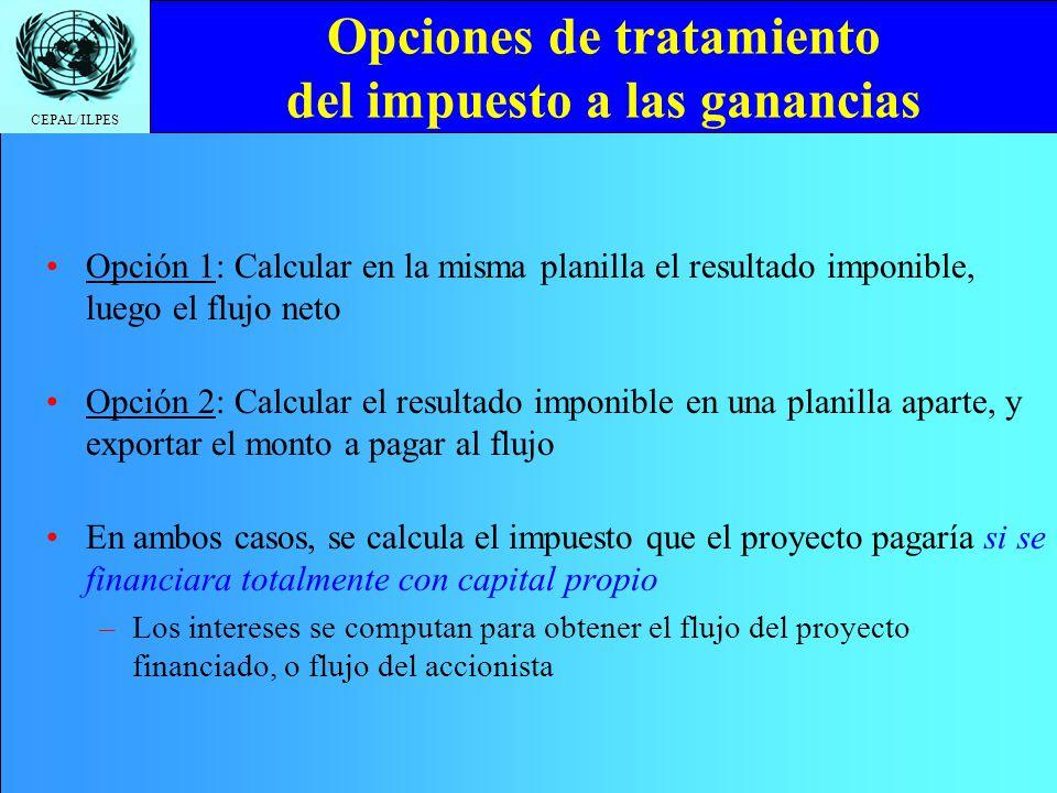 CEPAL/ILPES Opciones de tratamiento del impuesto a las ganancias Opción 1: Calcular en la misma planilla el resultado imponible, luego el flujo neto O