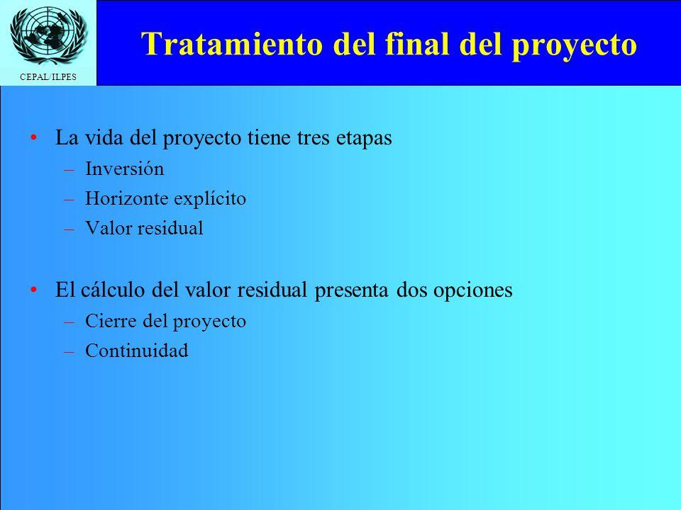CEPAL/ILPES Tratamiento del final del proyecto La vida del proyecto tiene tres etapas –Inversión –Horizonte explícito –Valor residual El cálculo del v