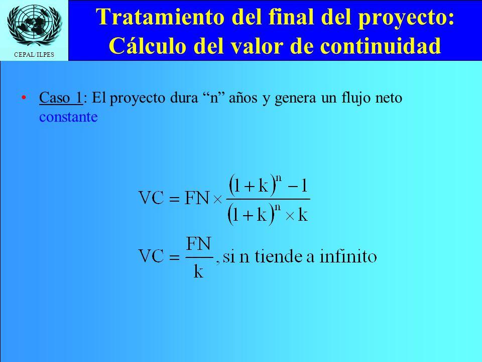 CEPAL/ILPES Tratamiento del final del proyecto: Cálculo del valor de continuidad Caso 1: El proyecto dura n años y genera un flujo neto constante