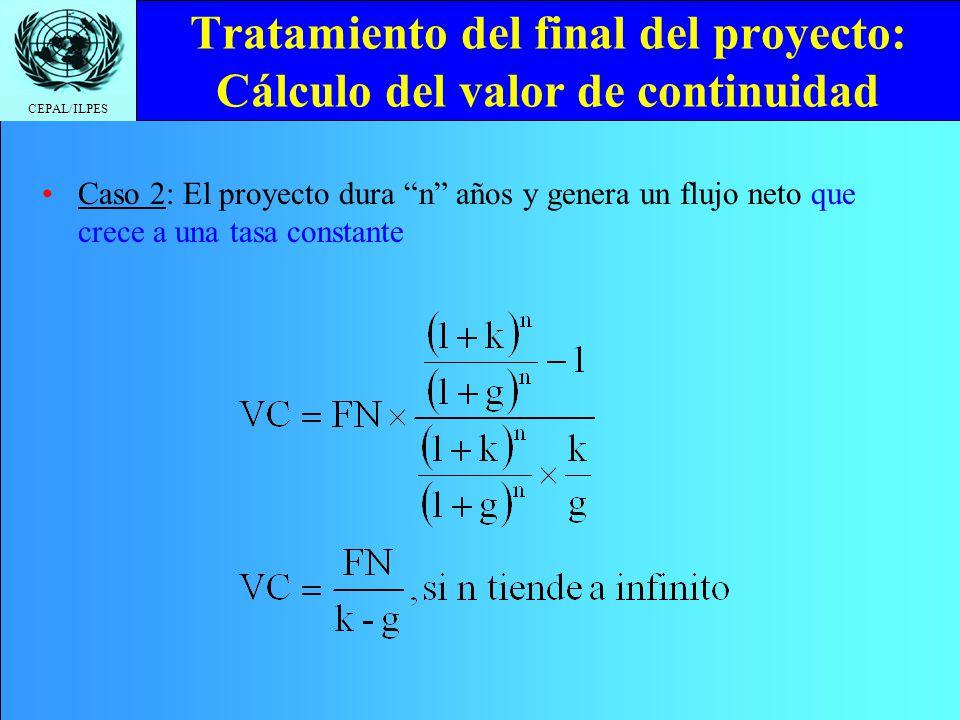CEPAL/ILPES Tratamiento del final del proyecto: Cálculo del valor de continuidad Caso 2: El proyecto dura n años y genera un flujo neto que crece a un
