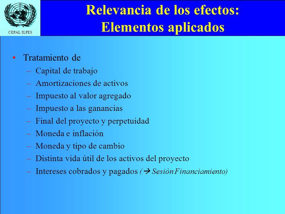 CEPAL/ILPES Relevancia de los efectos: Elementos aplicados Tratamiento de –Capital de trabajo –Amortizaciones de activos –Impuesto al valor agregado –