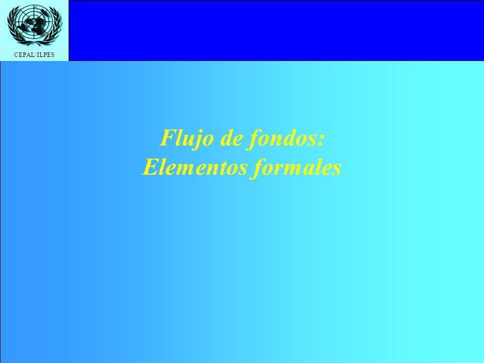 CEPAL/ILPES Flujo de fondos: Elementos formales