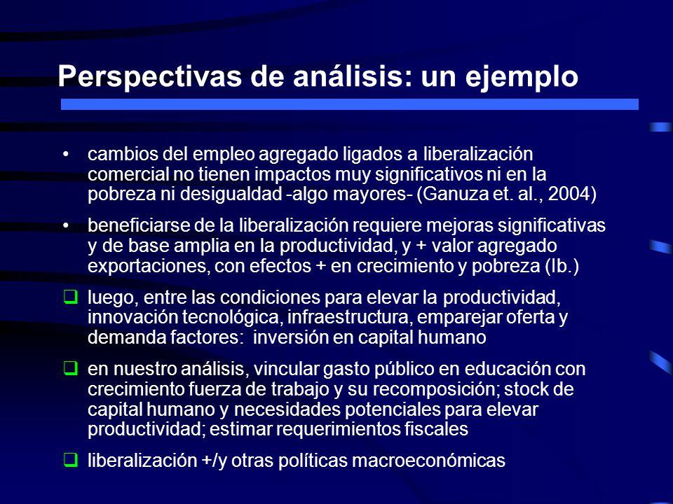 Perspectivas de análisis: un ejemplo cambios del empleo agregado ligados a liberalización comercial no tienen impactos muy significativos ni en la pobreza ni desigualdad -algo mayores- (Ganuza et.
