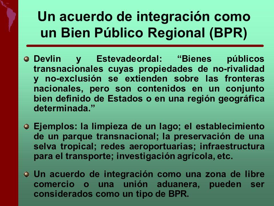 Un acuerdo de integración como un Bien Público Regional (BPR) Devlin y Estevadeordal: Bienes públicos transnacionales cuyas propiedades de no-rivalida
