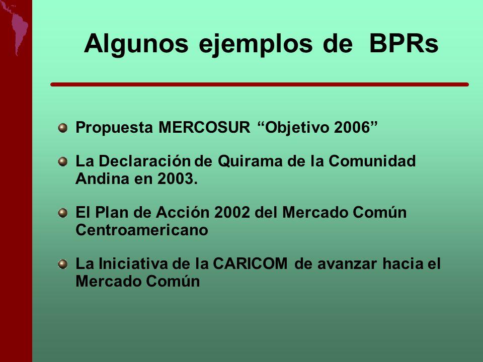 Algunos ejemplos de BPRs Propuesta MERCOSUR Objetivo 2006 La Declaración de Quirama de la Comunidad Andina en 2003. El Plan de Acción 2002 del Mercado