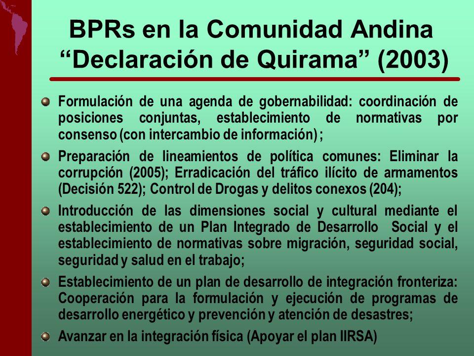 BPRs en la Comunidad Andina Declaración de Quirama (2003) Formulación de una agenda de gobernabilidad: coordinación de posiciones conjuntas, estableci