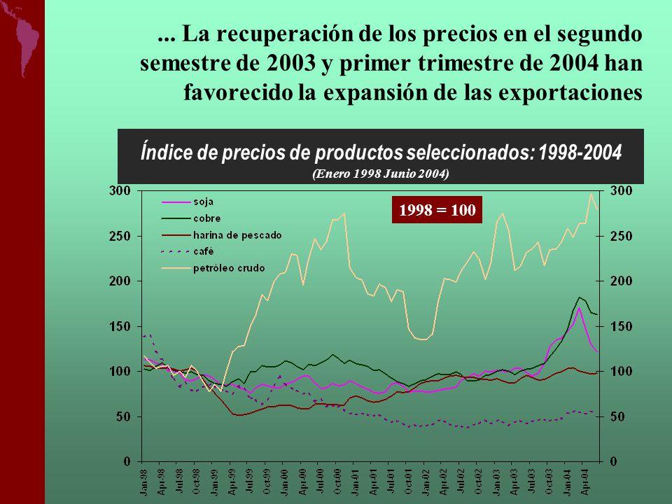 ¿Qué países explican el aumento de las exportaciones en el último bienio 2003-2004.