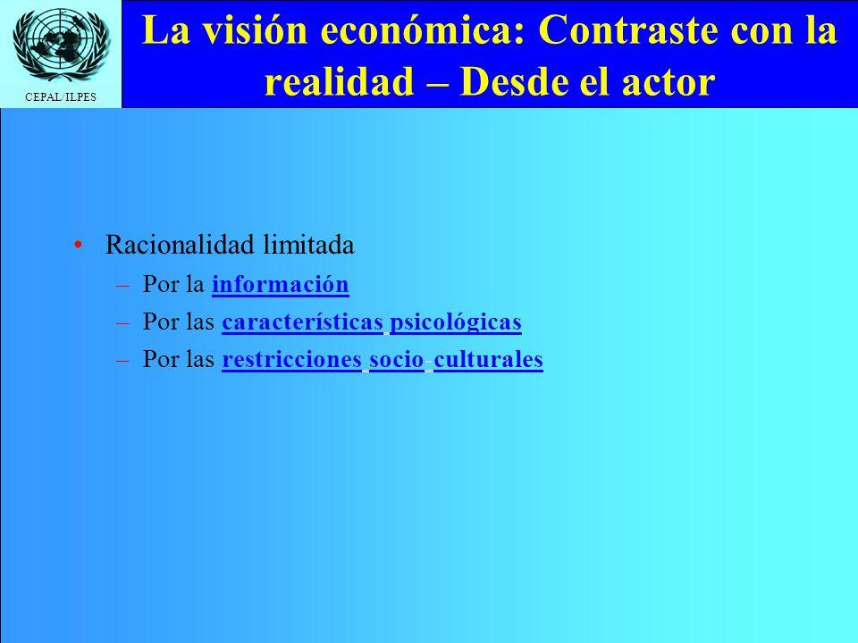 CEPAL/ILPES La visión económica: Contraste con la realidad – Desde el actor Racionalidad limitada –Por la información –Por las características psicoló