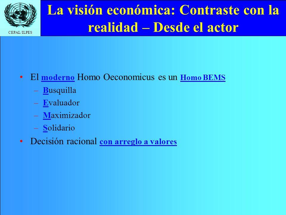 CEPAL/ILPES La visión económica: Contraste con la realidad – Desde el actor El moderno Homo Oeconomicus es un Homo BEMS –Busquilla –Evaluador –Maximiz