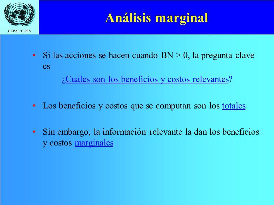 CEPAL/ILPES Análisis marginal Si las acciones se hacen cuando BN > 0, la pregunta clave es ¿Cuáles son los beneficios y costos relevantes? Los benefic