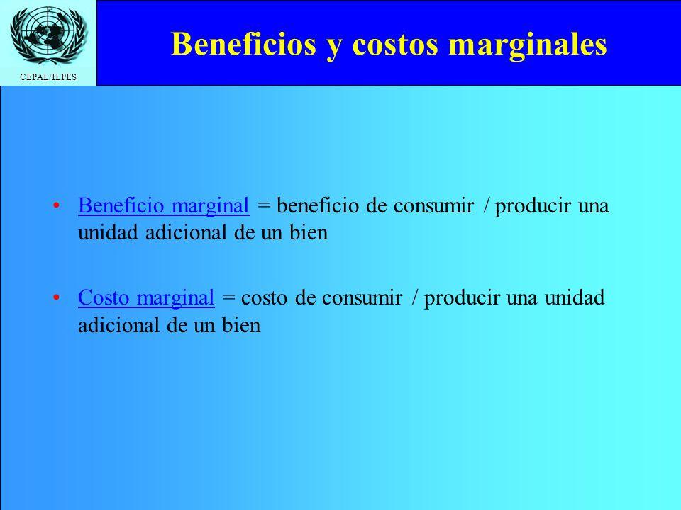 CEPAL/ILPES Beneficios y costos marginales Beneficio marginal = beneficio de consumir / producir una unidad adicional de un bien Costo marginal = cost