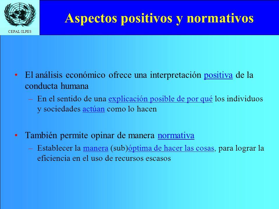 CEPAL/ILPES Aspectos positivos y normativos El análisis económico ofrece una interpretación positiva de la conducta humana –En el sentido de una expli