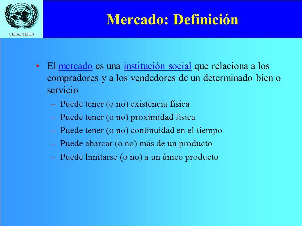 CEPAL/ILPES Mercado: Definición El mercado es una institución social que relaciona a los compradores y a los vendedores de un determinado bien o servi