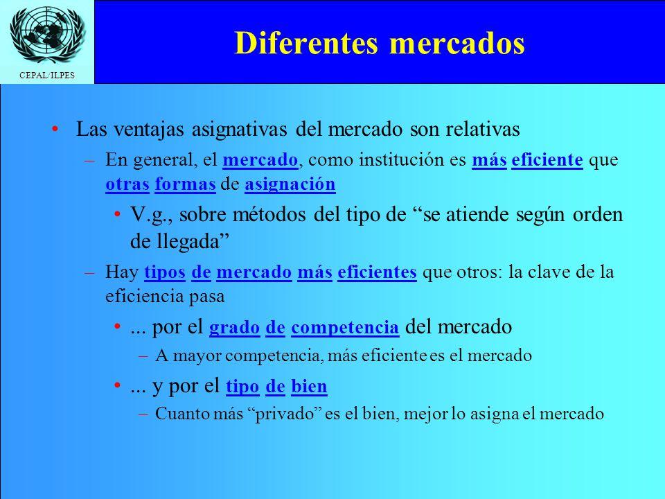 CEPAL/ILPES Diferentes mercados Las ventajas asignativas del mercado son relativas –En general, el mercado, como institución es más eficiente que otra