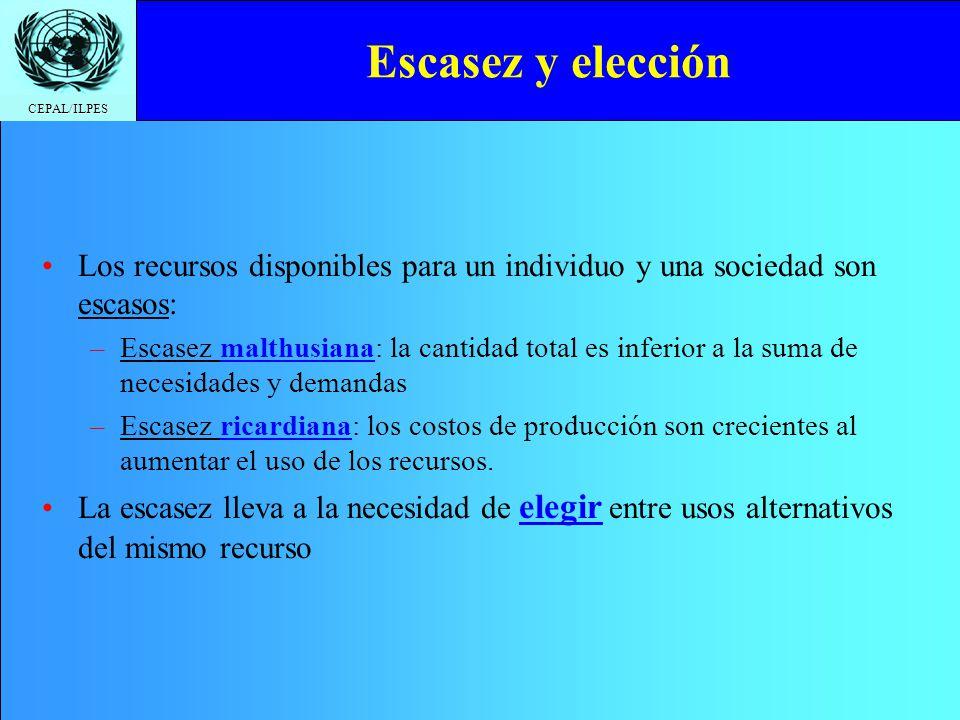 CEPAL/ILPES Escasez y elección Los recursos disponibles para un individuo y una sociedad son escasos: –Escasez malthusiana: la cantidad total es infer