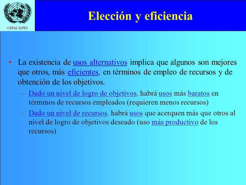 CEPAL/ILPES Elección y eficiencia La existencia de usos alternativos implica que algunos son mejores que otros, más eficientes, en términos de empleo