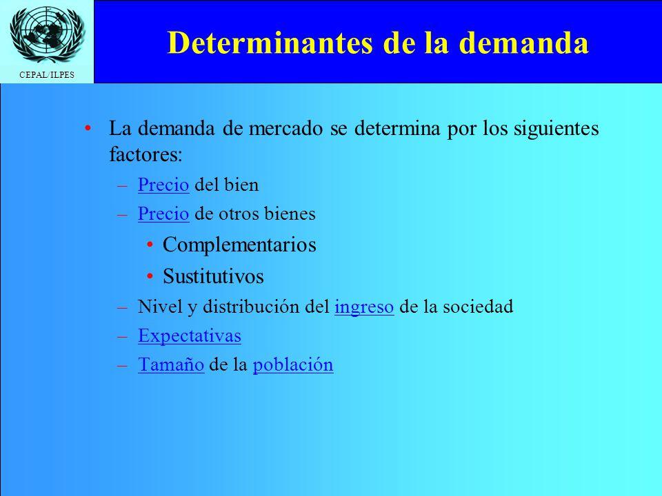CEPAL/ILPES Determinantes de la demanda La demanda de mercado se determina por los siguientes factores: –Precio del bien –Precio de otros bienes Compl